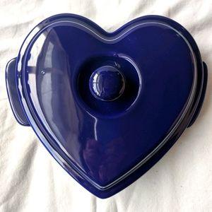 Chantal Heart Blue Baking Casserole Dish & Lid